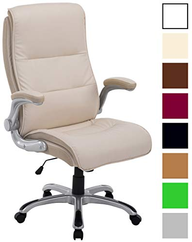 Bürostuhl XXL Villach mit Kunstlederbezug I Höhenverstellbarer Schreibtischstuhl mit klappbaren Armlehnen I Drehstuhl mit Laufrollen, Farbe:Creme