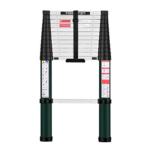 Toolitin Telescoping Ladder125 FT One Button Retraction Aluminum Telescopic Extension LadderSlow Down Design Extendable Ladders Portable Best for Household Daily or RV Work330 Pound Capacity…