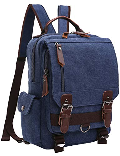 Mygreen Retro 13-Inch Canvas Backpack Crossbody Sling School Bags for Men Small Backpack Rucksack Daypack for Work and Daily Use Blue