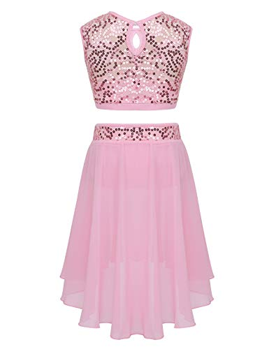 CHICTRY Youth Big Girls Lyrical Dance Dress 2-Piece Sequins Floral Lace Chiffon Party Ballroom Dancing Ballerina Costumes Pink 10-12 Years