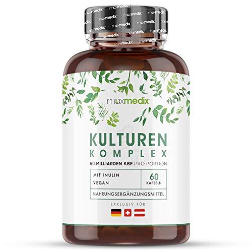 Premium Kulturen Komplex - 50 Mrd. KBE, Bakterienstämme & Inulin - Laborgeprüfte Kapseln - Mit Inulin, Lactobacillus Acidophilus und Bifidobacterium - Magensaftresistent & 100% Vegan - Beste Qualität