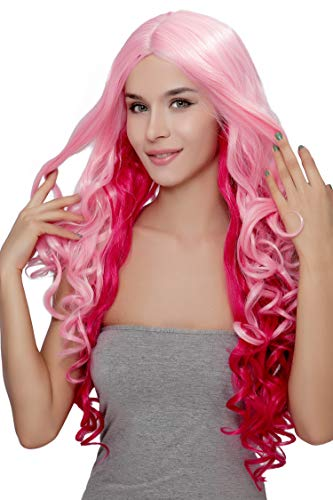 Kalyss Pink Curly Wigs for Women Middle Parted Heat Resistant Long Costume Wigs for Women