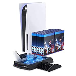Vertical Stand with Cooling Fan for PS5 Console and PS5 Digital Edition, YUANHOT Charging Station Dock with Dual Controller Charger Ports and Retractable Game Storage for PS5 and DualSense - Black by YUANHOT US