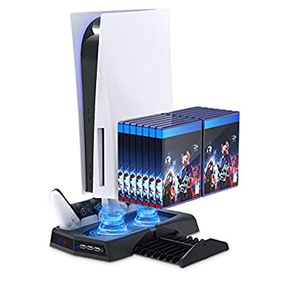 Vertical Stand with Cooling Fan for PS5 Console and Playstation 5 Digital Edition, YUANHOT Charging Station Dock with Controller Charger Ports and Retractable Game Storage for PS5 and DualSense