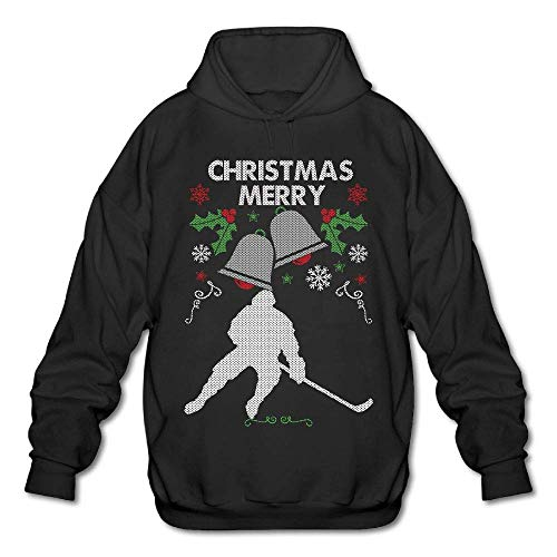 TeMcn_diy Merry Christmas Ice Hockey Men's Printed Hooded Sweatshirt Hoody