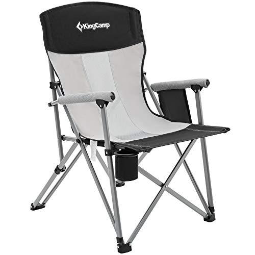 KingCamp Silla de Camping Plegable Transpirable con portavasos y Bolsillo