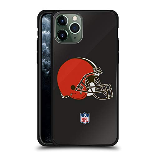 Head Case Designs Officially Licensed NFL Plain Cleveland Browns Logo Black Hybrid Glass Back Case Compatible with Apple iPhone 11 Pro