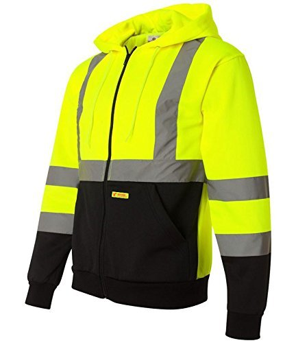 New York Hi-Viz Workwear H9012 Men's ANSI Class 3 High Visibility Class 3 Sweatshirt, Full Zip Hooded, Knit Lining, Black Bottom (X-Large) by New York Hi-Viz Workwear