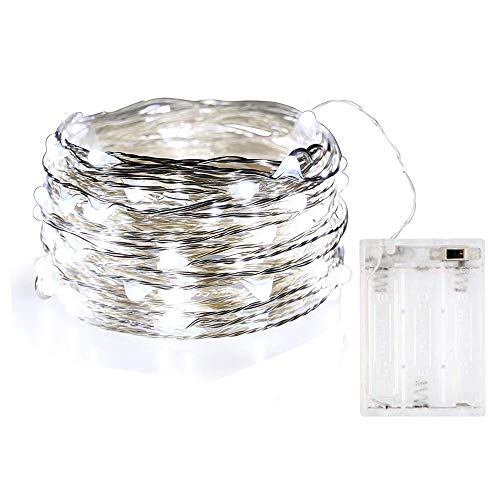 BOLWEO 10ft/3M 30LEDs Cool White LED String Light,Battery Operated Christmas Tree Decoration Lights,Waterproof Copper Wire Lighting for Outdoor Indoor Home Garden Bedroom