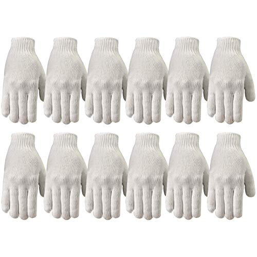 Wells Lamont Polyester Work Gloves, String Knit, 12 Pair Pack, Large (513LZ) , White