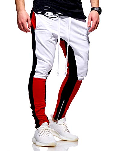 Rello & Reese Herren Sporthose Jogginghose Trainingshose Hose Colour-Block RR-5049 [Weiß, L]