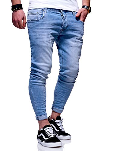 MT Styles Herren Slim Fit Jeans Hose JN-3830 [Hellblau, W36/L32]