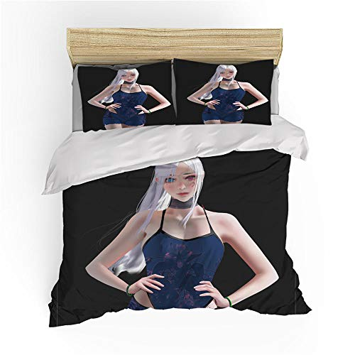 MOUPSDT Duvet Cover Set Black white blue anime girl King:86.7 inch x 95 inch Bedding Sets with Zipper Closure and Easy Care Hotel Quality with 2 Pillow covers 50x75cm