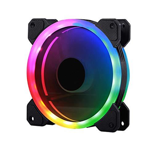 Ventilador de enfriamiento de alto rendimiento PC de la computadora de color RGB que cambia Fan Box sinfonía de luz LED LED equipo Radiador equipo ventilador de refrigeración de doble agujero RGB
