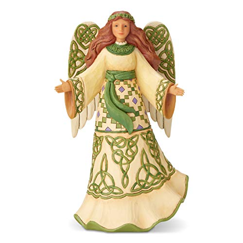 Enesco Jim Shore Heartwood Creek Irish Angel in Celtic Dress Figurine, 9.6 Inch, Multicolor