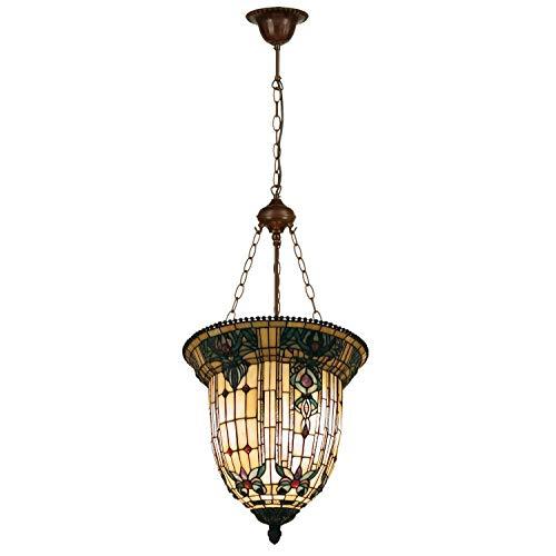 Lumilamp 5LL-5307 Hängelampe/Gastronomielampe Art Deco Tiffany Stil Blauw/Natur Ø 41 * 126 cm 3X E27 max 60W dekoratives buntglas Tiffany Stil handgefertigt glasschirm