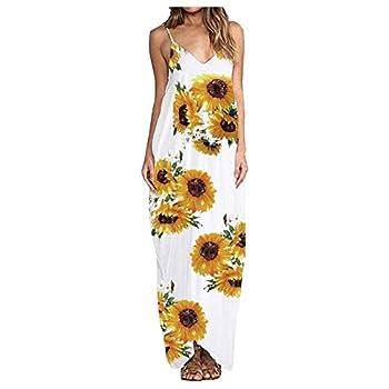 Summer Dresses for Womens Casual Sunflower Print Maxi Dress V Neck Strap Long Holiday Beach Dress Maxi Boho Dress White