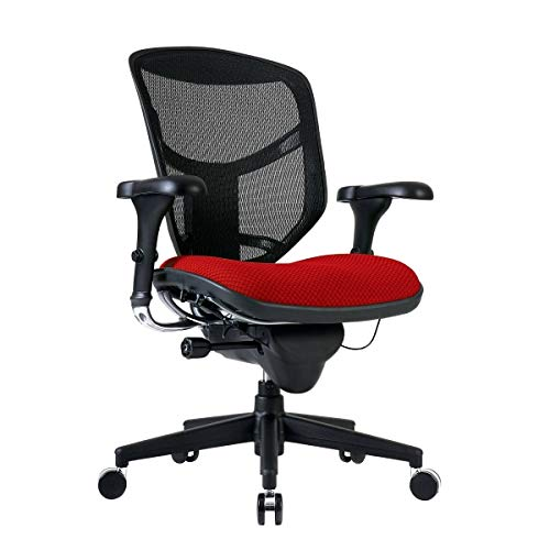WorkPro Quantum 9000 Ergonomic Mesh/Fabric Mid-Back Manager's Chair, Cherry/Black