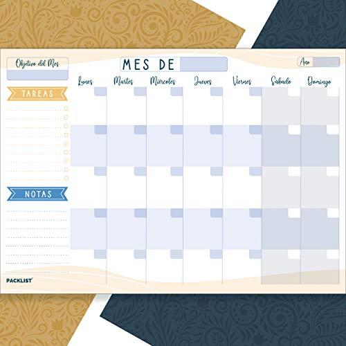 PACKLIST Planificador Mensual, Organizador Mensual A4 - Agenda Mensual Calendario Perpetuo 2020/21/22 - Monthly Planner, Planner Mensual, 25 Hojas. Agenda Planificador en Formato Calendario Mensual