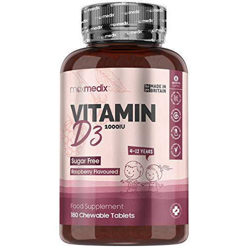 Kids Vitamin D3 High Strength 1000 IU - 180 Chewable Tablets Supplement (6 Month Supply) - Raspberry Flavoured - for Immune System, Growing Bones, Teeth, Non GMO Vegan, Sugar Free (4-12 Years)