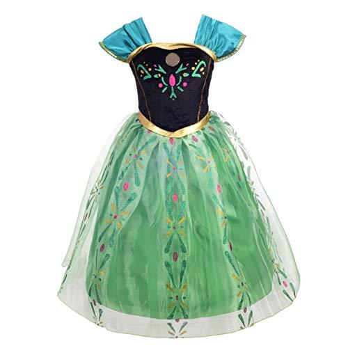 Lito Angels Mädchen Prinzessin Anna Kleid Kostüm Weihnachten Halloween Party Verkleidung Karneval Cosplay 4-5 Jahre
