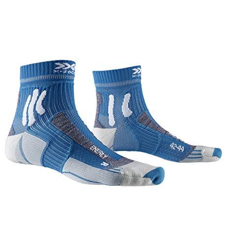 X-SOCKS Marathon Energy Chaussette Mixte Adulte, Bleu (Teal Blue/Arctic White), FR : S (Taille Fabricant : 35-38)