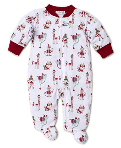 Kissy Kissy Unisex-Baby Infant Jungle Christmas Print Footie with Zipper-Multicolored-9 Months