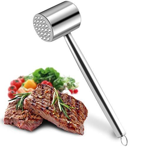 Meat Tenderizer, Meat Hammer of heavy Metal tool for Tenderizing Steak, Beef, Poultry, kitchen. Stainless steel material, Easy to clean, 100% Dishwasher Safe by DIMESHY.