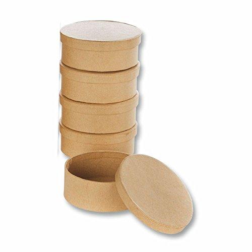 Preisvergleich Produktbild Papp-Boxen 5 Stück OVAL 9, 5x7, 5x4cm Bastelboxen mit Deckel - Schachteln zum Gestalten und Aufbewahren von Bastel-Materialien