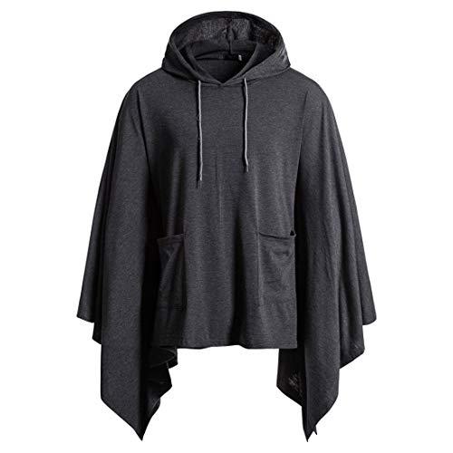 Herren Casual Hooded Pullover Cape Coat mit Pocket Unregelmäßiges Patchwork Lose Fledermausärmel Umhang Männliches Top Home Sportwear Hoodie Poncho Cloak Sweatshirt Mode Cape Pullover mit Tasche