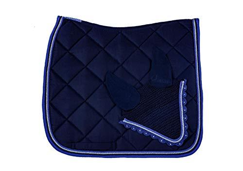 WAGNER Tapis de selle de dressage avec bonnet anti-mouches et strass Bleu roi