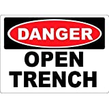 Dahlrice Danger Open Trench Warning Aluminum Sign, 8X12 Inches Rust Free Aluminum