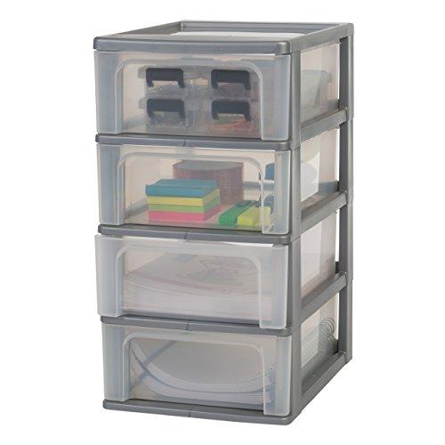 Amazon Basics OCH-2004 Schubladencontainer mit 4 Schübe, Plastik, Silber, 4 mittlere Schubladen