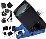 """MINOLTA 35mm Desk Top Portable LED Slide and Negative Viewer Luminated 3X Magnify – for 2""""x2"""" Slides & Positive Negatives - Worldwide AC Adapter & Plugs, Battery Operation & Cloth"""