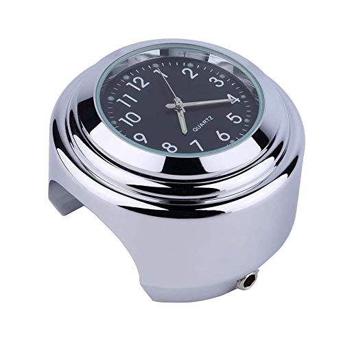 Uhr für Motorradlenker, Universal Motorrad Lenker Uhr, Motorrad Fahrrad Chrom Wasserdicht Zifferblatt Lenker Uhr Glow Watch Black Shell & Silver Base