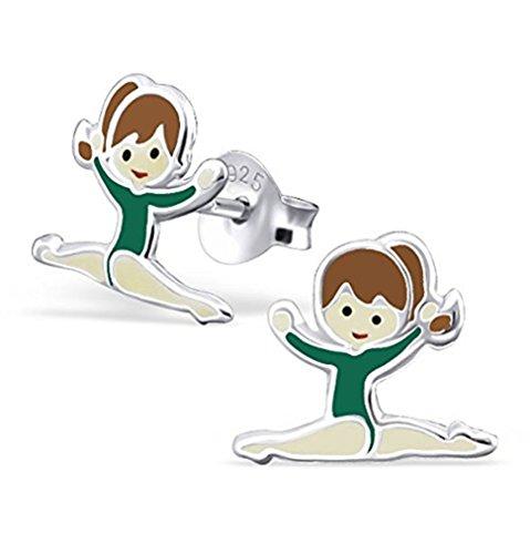 Orecchini, a forma di ginnasta con body verde–in vero argento Sterling