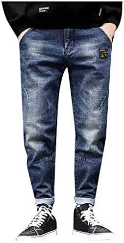 Men Jeans Daoroka Men s Ripped Slim Fit Straight Zipper Denim Pants Vintage Style Motorcycle product image