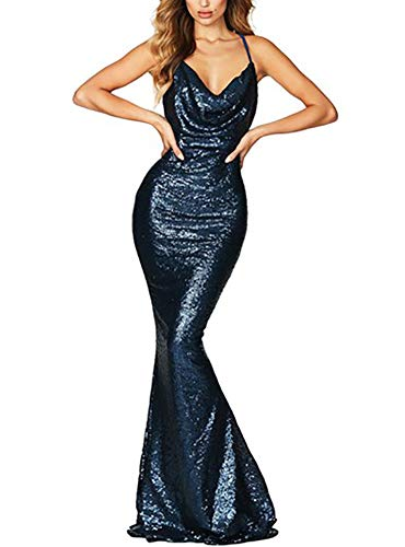 made2envy Drape Cowl Neckline Open Back Sequined Gown (L, Blue) LC610559LBL