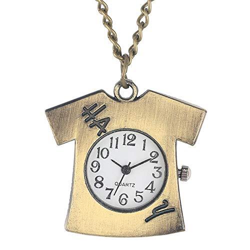 Ropa única con Forma de Camiseta Reloj de Bolsillo de Cuarzo Números árabes Lindos Dial Fob Collar Colgante Delgado Cadena Colgante Reloj de suéter
