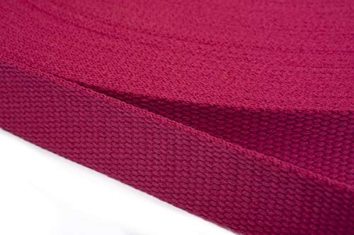 Correa de algodón Jajasio de 30 mm de ancho, correa de algodón, algodón, 08 - Fucsia, 6 m
