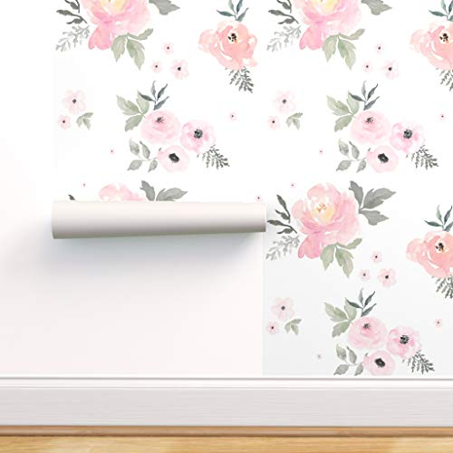 Spoonflower Peel and Stick Removable Wallpaper, Blush Pink, Sweet, Roses, Baby Girl, Floral, Cottage, Shabby Chic, Nursery, Watercolor, Flowers, Print, Self-Adhesive Wallpaper 24in x 108in Roll