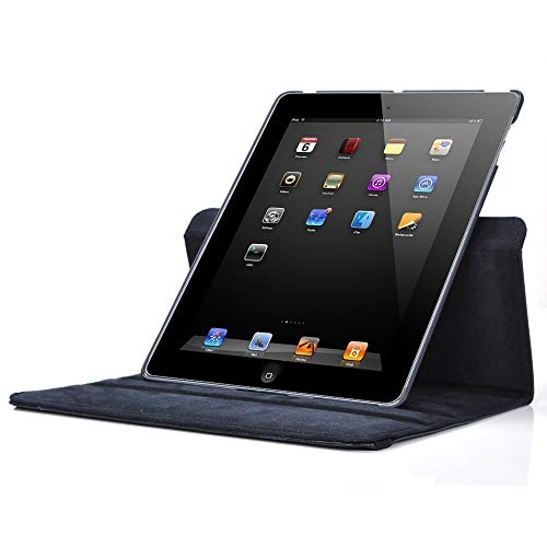 Shoppers Point 360 Degree Rotating PU Leather Flip Case Cover Compatible for Apple iPad 2/iPad 3/iPad 4 (Model : A1460, A1459, A1458, A1416, A1430, A1403, A1397, A1396, A1395) -Black