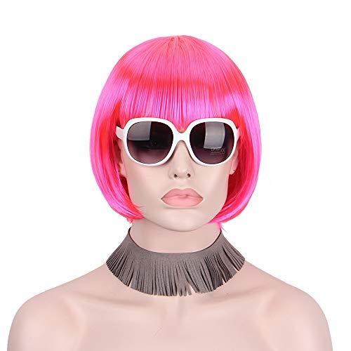 Peluca corta de Bob Pelucas rojas rosadas sintéticas para mujeres con flequillo...