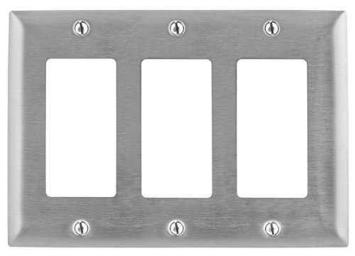 Bryant Electric SS263 Metallic Wallplate, 3-Gang, 3 Decorator/GFCI Openings, Standard Size, 302/304, StainlessSteel, With Removable White Protective Film