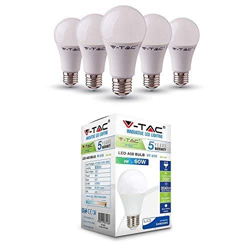 LED-lamp met Samsung LED | E27 5-pack | LED A58 lampen | 9 Watt 806 lumen | Lamp vervangt gloeilamp 60 Watt | daglicht wit 4000 K | stralingshoek 200° | niet dimbaar | 5 jaar garantie
