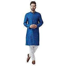Sojanya (Since 1958), Mens Blue Silk Blend Churidar Pyjama Set