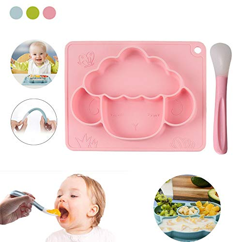Toddler/Baby Suction Plates And Bowls Set, Silicone Divided Plates With Suction And Spoon, Baby Toddler Plate, Kids Suction Plates Dishwasher And Microwave Safe (Color : B Pink)