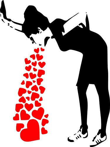Banksy Love Sick - Iconic Graffiti Wall Sticker (Large: 60cm x 80cm / 24 x 32) by Broomsticker