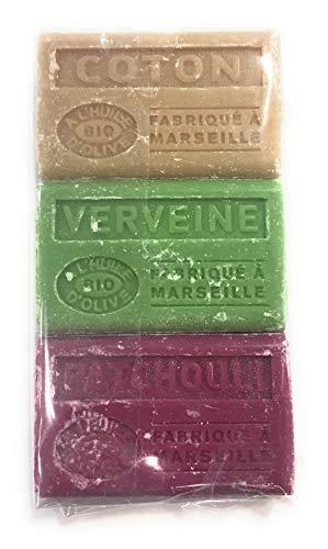 Label Provence Seife mit Olivenöl Bio – Duft aus Baumwolle, Eisenkraut Patchouli – hergestellt in Marseille – 3 Stück
