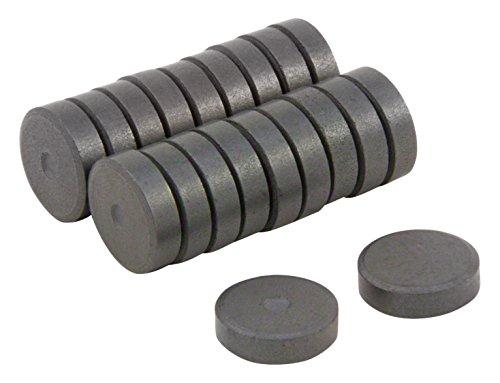 first4magnets™ Dia 10mm x 3mm dicken Y10 Ferrit-Magneten - 0,145 kg ziehen (Packung mit 20), Metall, Silver, 25 x 10 x 3 cm, Einheiten